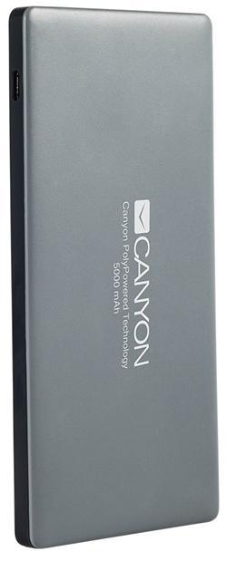 CANYON powerbanka 5000 mAh, 2*5V/1.5-2.2A (micro-USB + Lightning) a USB output 5V/2A (max.), tmavě šedá