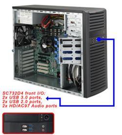 "SUPERMICRO Mid-Tower 4x 3,5"" fixed HDD, 2x 5,25"", 1x external 3,5"",(Audio,2xUSB 3.0,2xUSB 2.0,Audio), 900W (80PLUS Gold)"