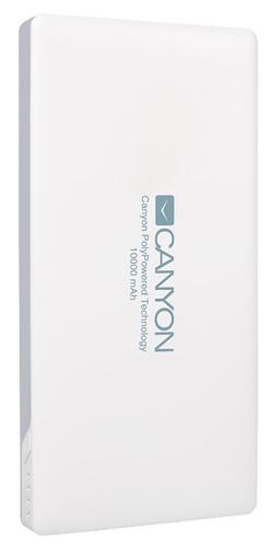 CANYON powerbanka 10000 mAh, 2*5V/1.5-2.2A (micro-USB + Lightning) a USB output 5V/2A (max.), bílá