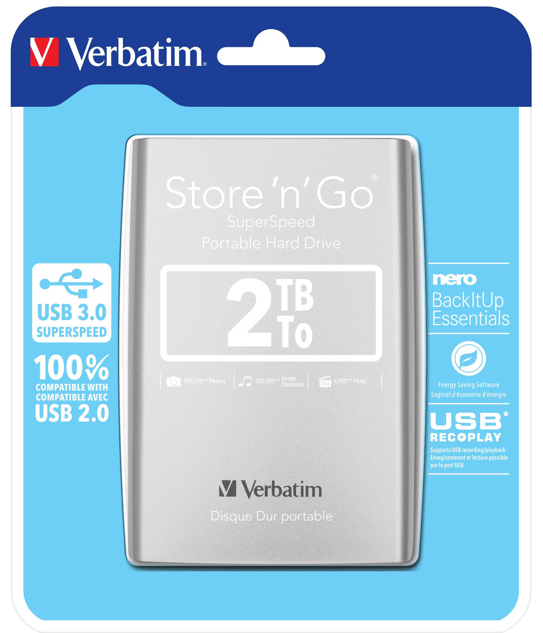 "VERBATIM HDD/ Store n Go/ 2TB/ Externí 2,5""/ USB 3.0/ stříbrný"