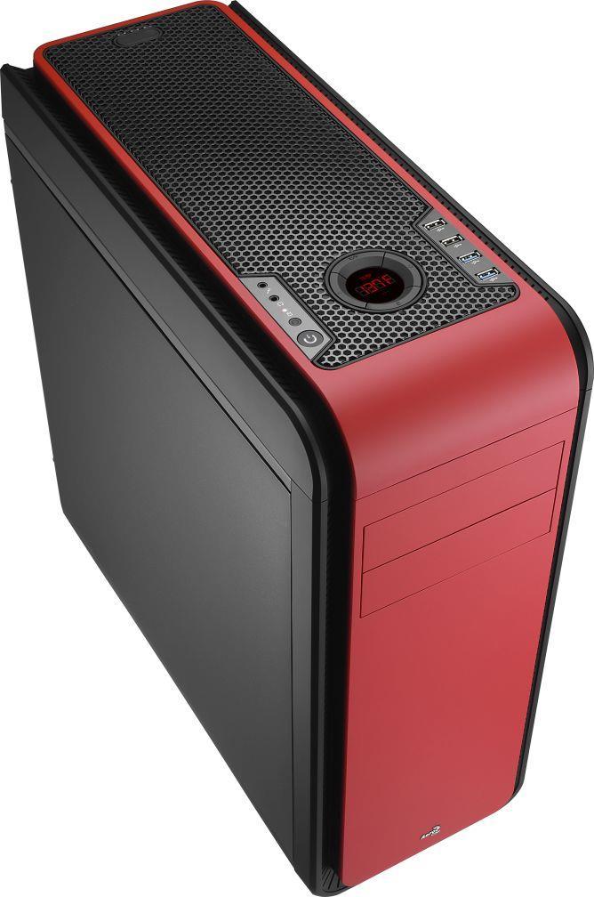 PC skříň Aerocool ATX DS 200 RED, USB 3.0, bez zdroje