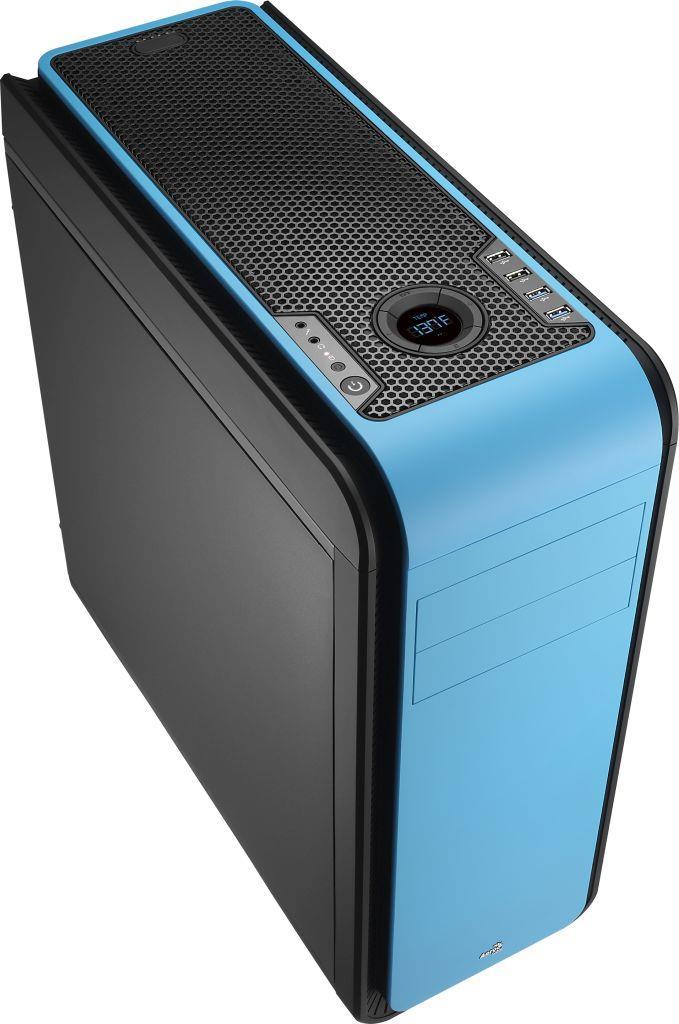 PC skříň Aerocool ATX DS 200 BLUE, USB 3.0, bez zdroje