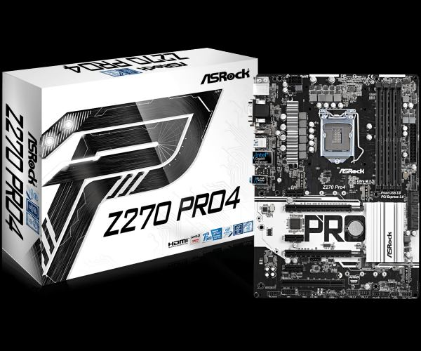 ASRock Z270 Pro4, INTEL Z270 Series,LGA1151,4 DDR4,3 x M.2(2forSSD, 1for Wi Fi)