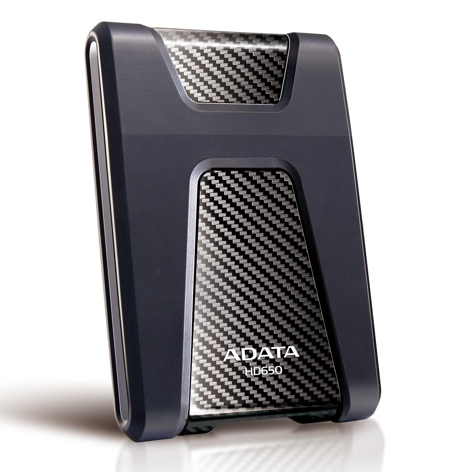 """ADATA Externí HDD 2TB 2,5"""" USB 3.0 DashDrive Durable HD650, černý (gumový, nárazu odolný)"""