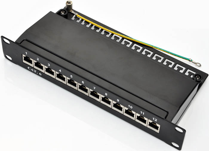 "Patch panel 10"" STP cat.6 12portů"