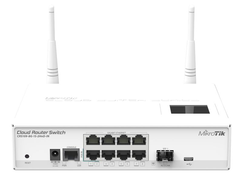 MikroTik CloudRouterSwitch CRS109-8G-1S-2HnD-IN, 600MHz CPU, 128MB RAM, 9xLAN, 2.4 Wi-Fi,LCD, 1xSFP slot, vč. L5 licence