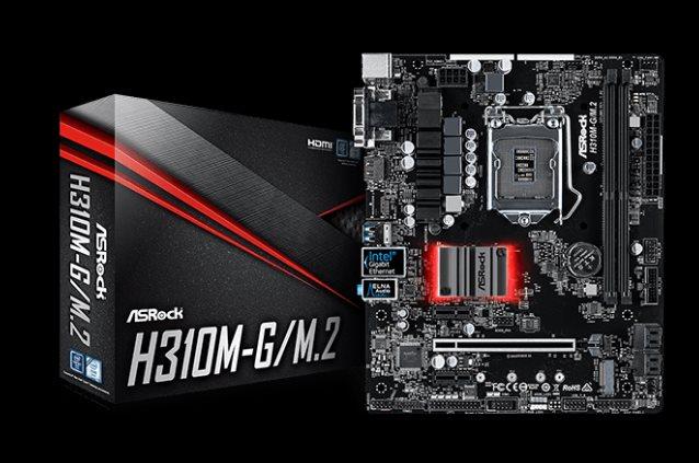 ASRock H310M-G/M.2, INTEL H310 Series, LGA1151, DDR4, 4 SATA3