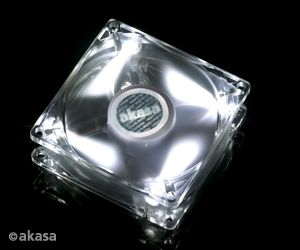 AKASA Ventilátor Pearl White, 80 x 25mm, průhledný se 4 led, kluzné ložisko, tichý