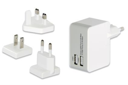 Ednet USB cestovní nabíječka, 2-Port, max. 5V / 2.5A, 3 zásuvky EU / US / UK, bílá