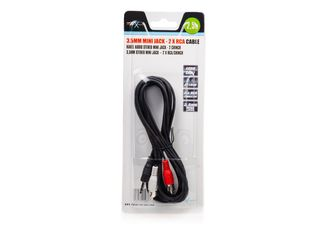 Natec stereo audio kabel 3.5mm mini-jack/2x RCA M/M (chinch) 2.5m, blister
