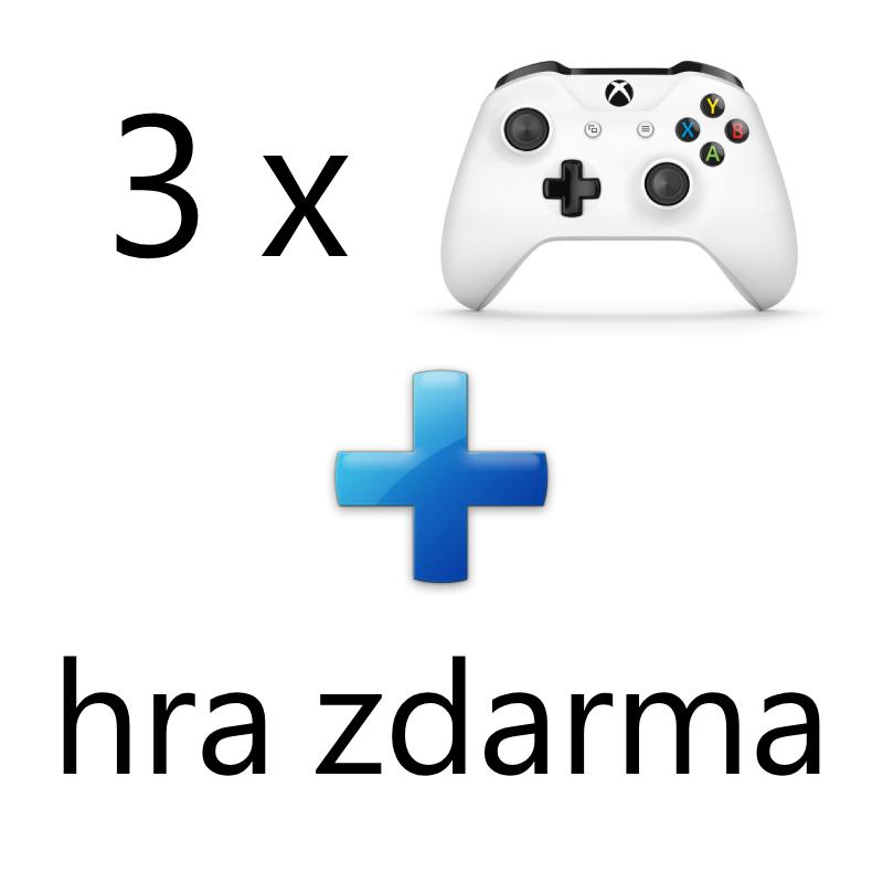 AKCE: 3 x XBOX ONE - Bezdrátový ovladač Xbox One, bílý + 1 hra ZDARMA
