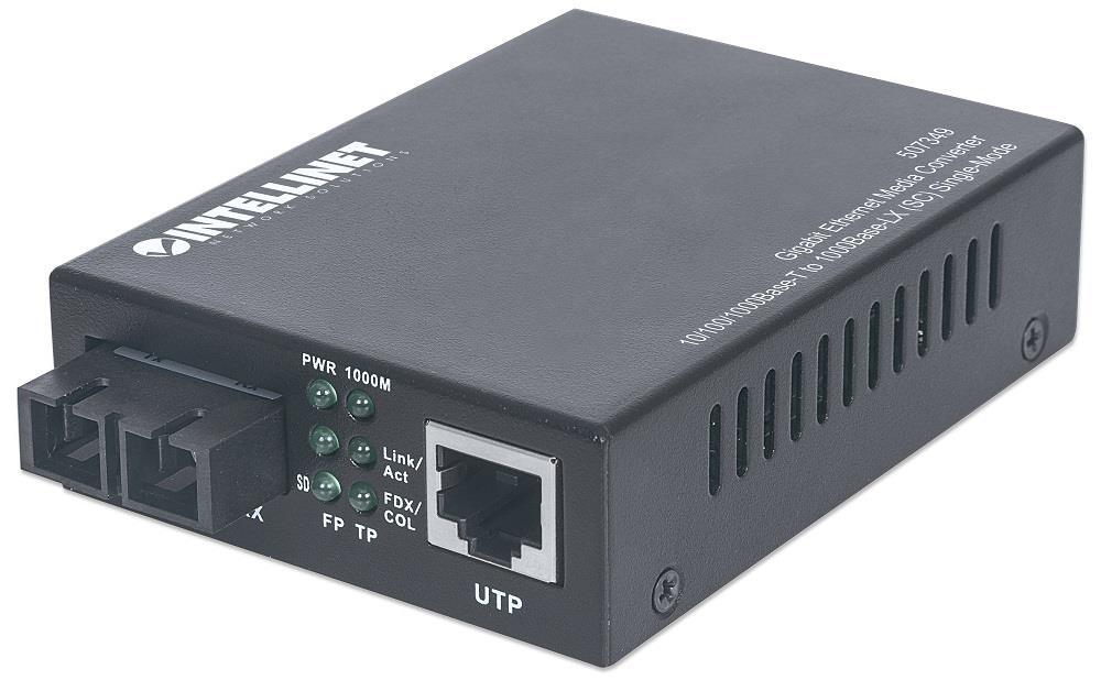 Intellinet Média konvertor 10/100/1000Base-T (RJ45) / 1000Base-LX (SM SC) 20km