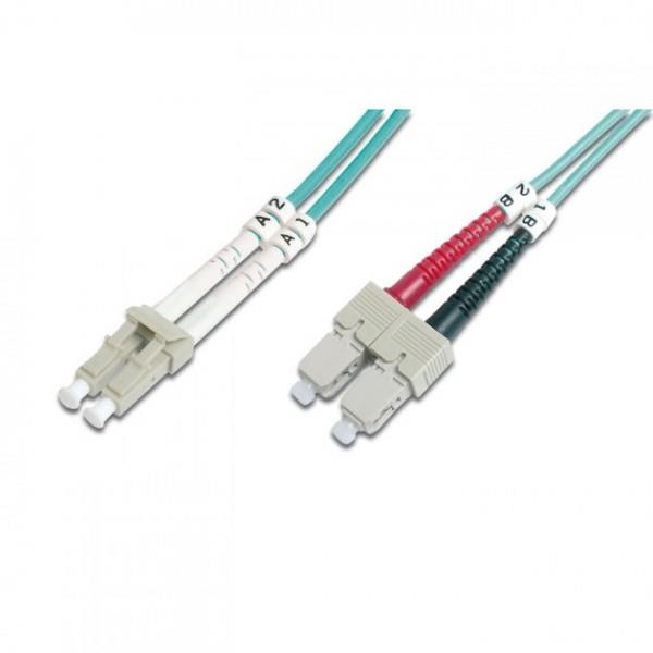 Intellinet Fiber optic patch cable LC-SC duplex 1m 50/125 OM3 multimode