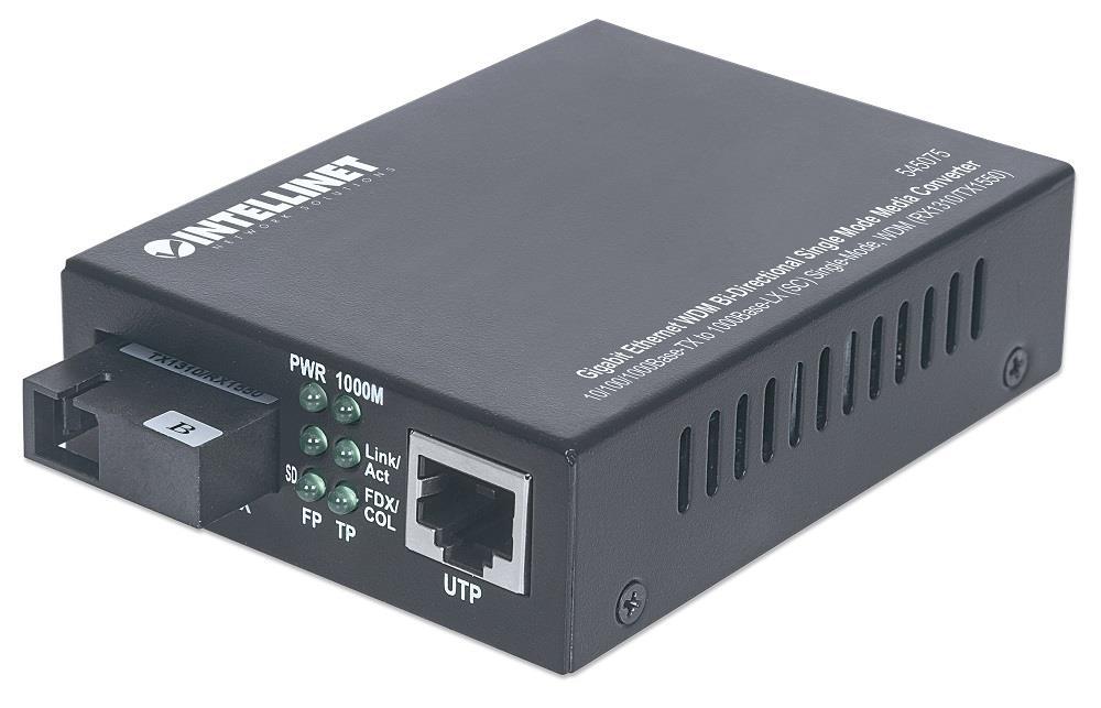 Intellinet Média konvertor WDM 10/100/1000Base-TX (RJ45) / 1000Base-LX (SM SC)