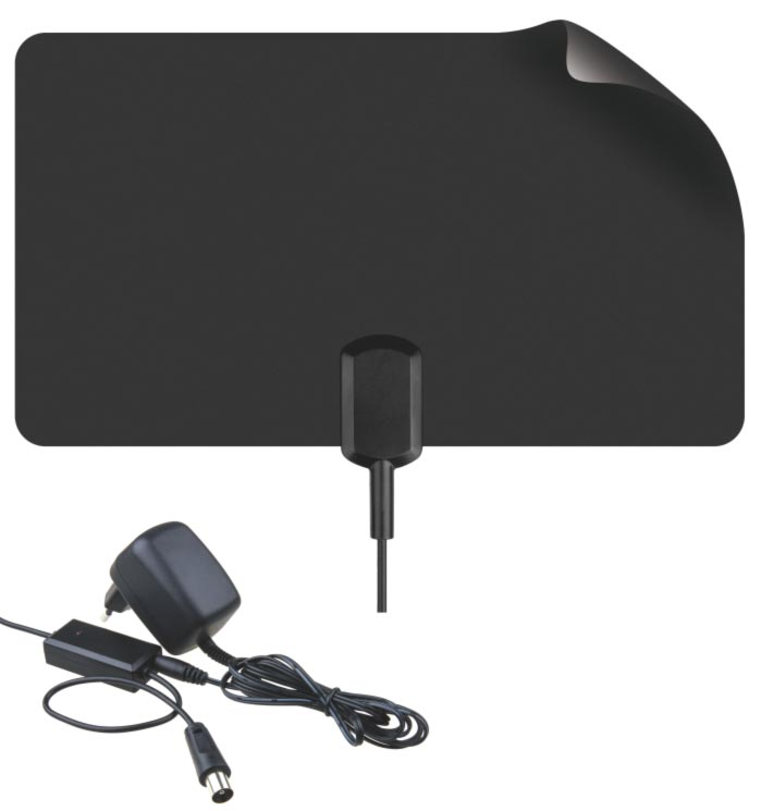 BENsat BEN9023 - tenká pokojová anténa pro DVB-T/T2, aktivní 43 dBi, LTE filtr, černá