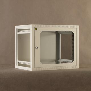 Závěsný rack 19'' Netrack 9U/400 mm,skleněné dveře,šedý,odnímatelné boční panely