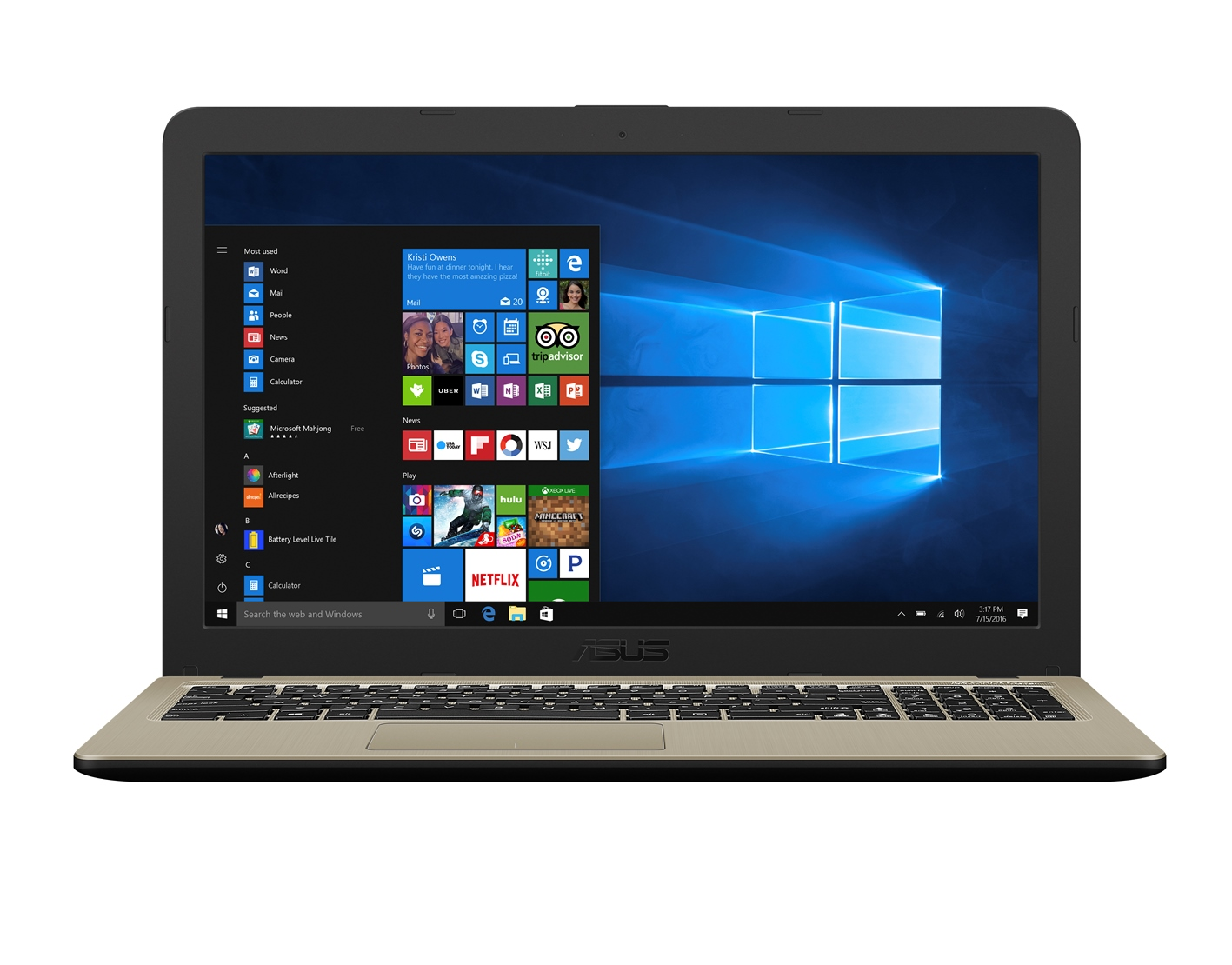 "ASUS X540UA-GQ010 Core i3-6006U/4GB/1TB 5400ot./DVD-R/Intel HD Graphics 520/15,6"" HD/Matný/bez OS/Black"