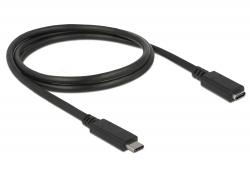 Delock prodlužovací kabel USB Typ-C AM-AF; 1,0m, černý