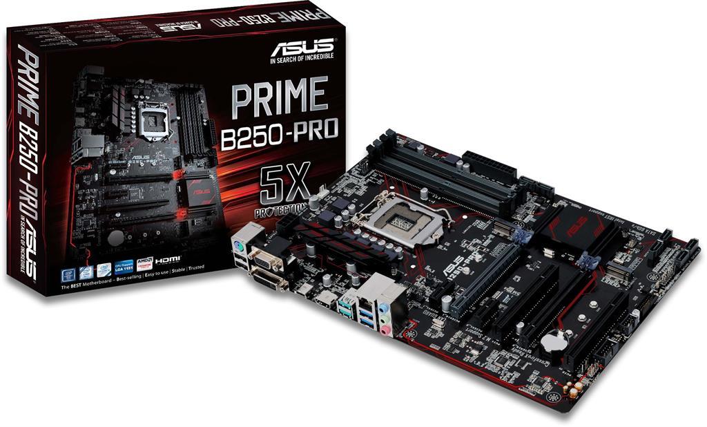 ASUS PRIME B250-PRO, LGA-1151 ATX, dual M.2, SATA 6Gb/s, USB 3.1