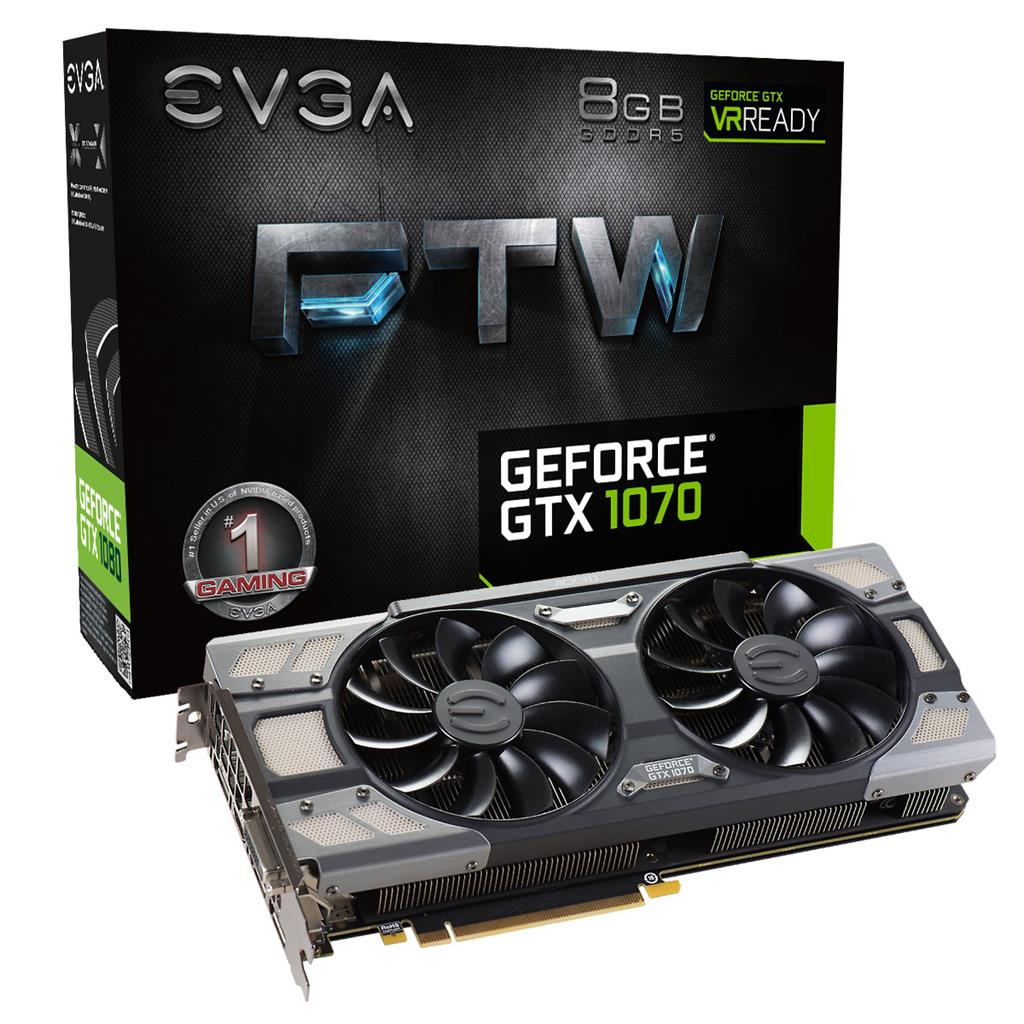 EVGA GeForce GTX 1070 FTW GAMING ACX 3.0, 8GB GDDR5 (256 Bit), HDMI, DVI, 3xDP