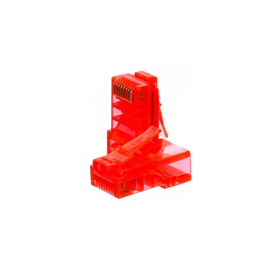 Netrack GoldMax 50u konektor RJ45 8p8c, UTP drát, cat. 5e (100 ks), červený