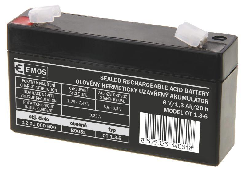 Emos baterie SLA 6V / 1.3 Ah, Faston 4.8 (187)