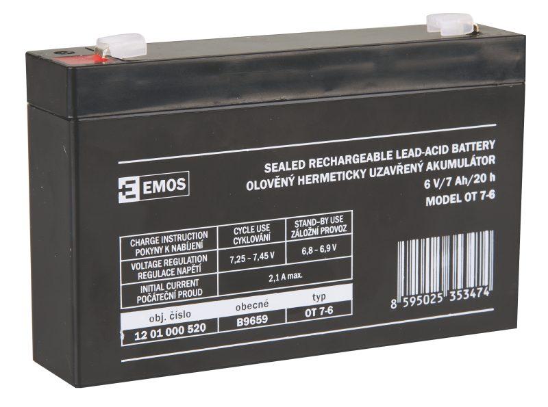 Emos baterie SLA 6V / 7 Ah, Faston 4.8 (187)