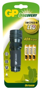 GP LED svítilna LOE203, 1W CREE LED (65 lumenů), 3x AAA