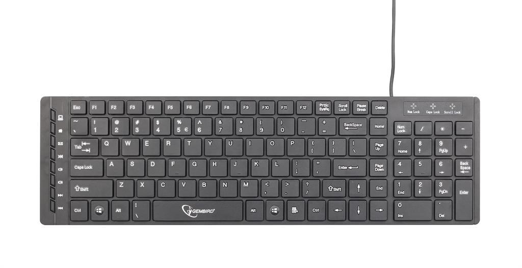 Gembird multimediální klávesnice USB, ''chocolate'' slim, US rozložení, černá
