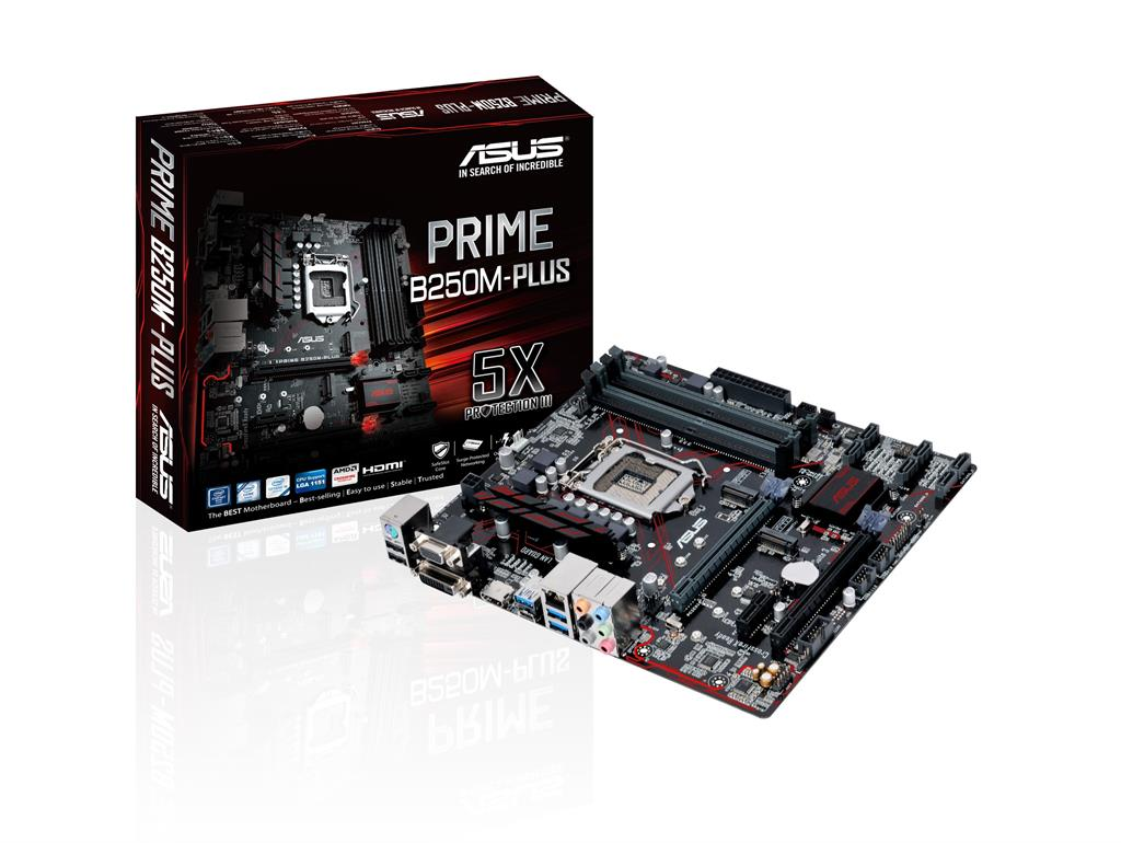 ASUS PRIME B250M-PLUS, LGA1151, B250, U3S6, M.2, HDMI, SATA 6Gb/s, USB 3.0
