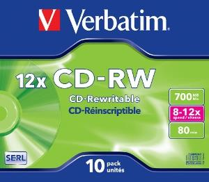Verbatim CD-RW [ jewel case 10 | 700MB | 12x ]