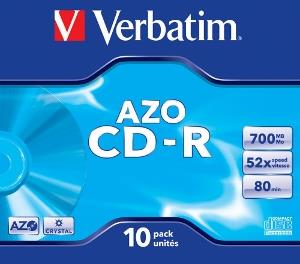 Verbatim CD-R [ jewel case 10 | 700MB | 52x | Crystal | DataLife+ AZO ]
