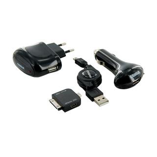4World nabíjecí sada pro GSM 3v1 iPhone/HTC/BlackBerry síť/sám/USB
