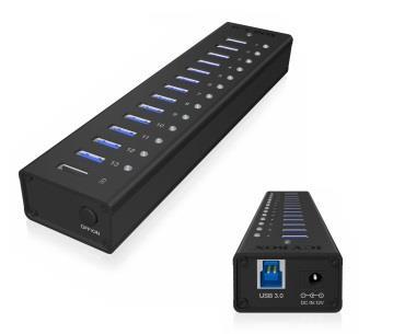 IcyBox 13 Port USB 3.0 Hub with USB charge port, Black