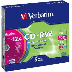 Verbatim CD-RW [ slim jewel case 5 | 700MB | 12x | Colour ]