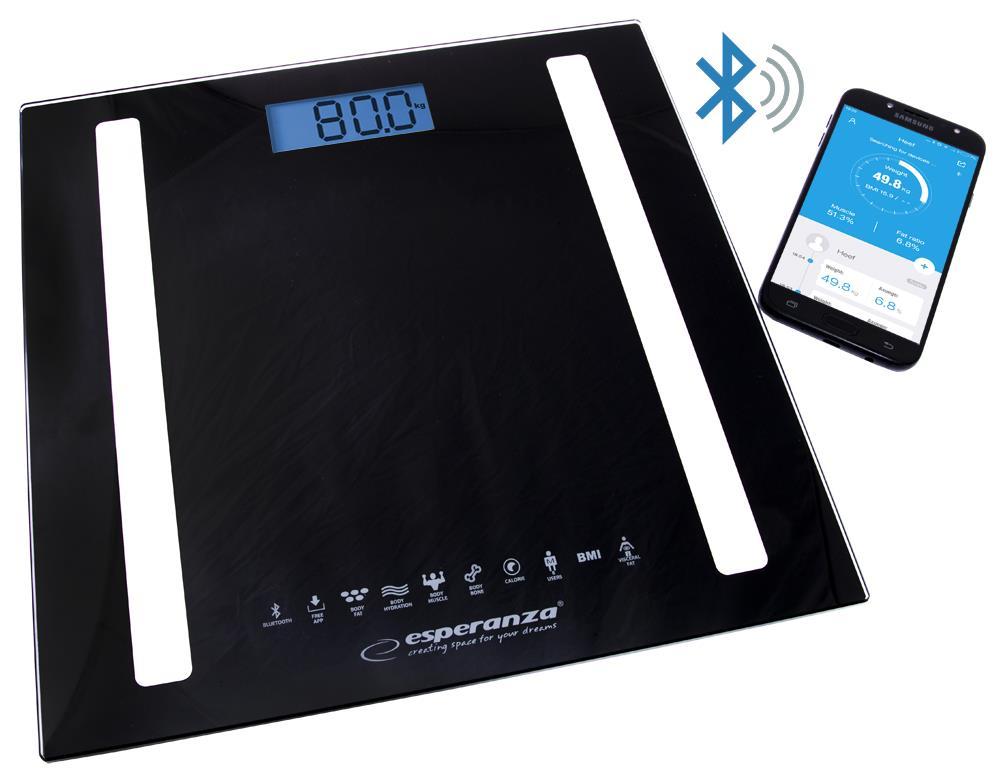 Esperanza EBS016K B.FIT osobní digitální váha 8v1 s Bluetooth, černá