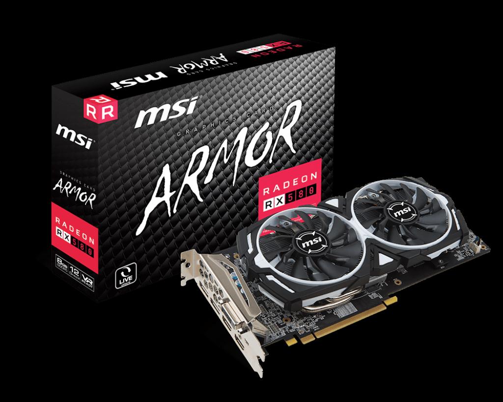 MSI Radeon RX 580 ARMOR 8G, 8GB, DVI-D/HDMI*2/DP*2/ATX