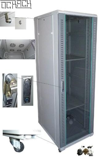 """19"""" rozvaděč stojanový 18U/600x800 skleněné dveře - černý"""