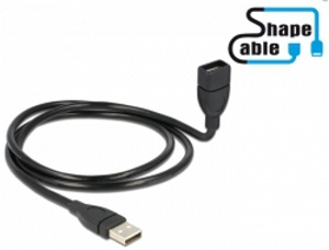 Delock USB 2.0 kabel samec > A samice ShapeCable 1m