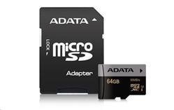 ADATA paměťová karta 64GB Premier Pro micro SDXC UHS-I U3 CL10 (čtení: 95MB/s) + SD adaptér