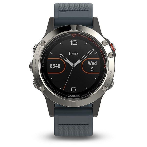 Garmin GPS sportovní hodinky fenix5 Silver Optic, granitově modrý řemínek