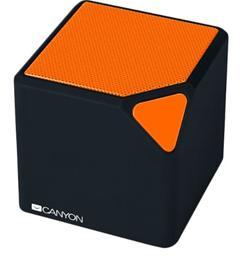 CANYON bezdrátový reproduktor, Bluetooth V4.2+EDR stereo speaker, 3.5mm Aux, micro-USB port, 300mA baterie, oranžový