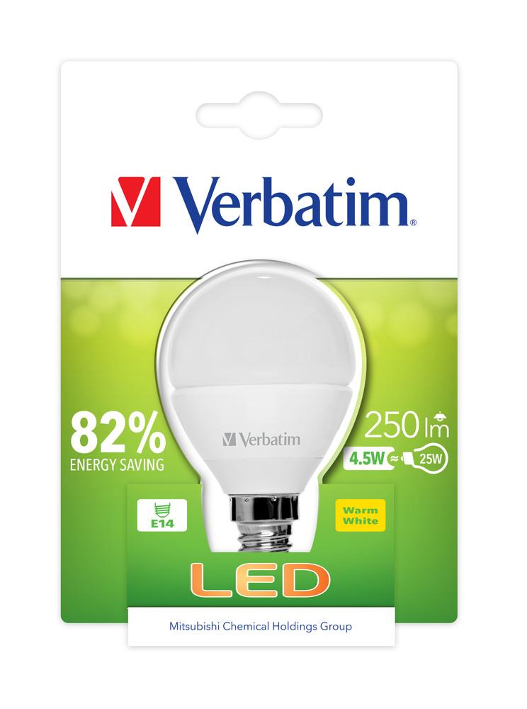 VERBATIM LED žárovka,LED Mini Globe E14 4.5W 2700K WW 250LM Clear