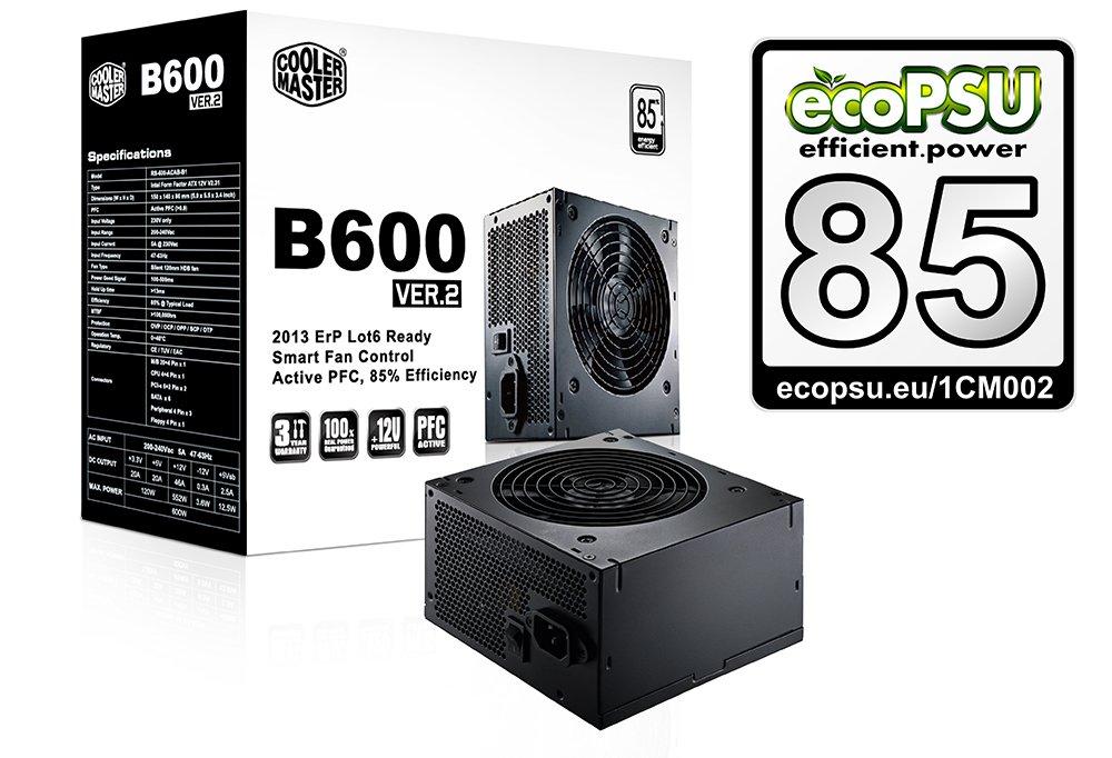 CoolerMaster zdroj B2 series 600W PFC v2.3, 12cm fan, eff. 85% - ErP 2013, black