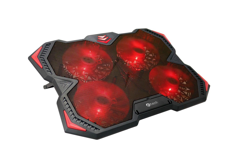 """C-TECH Chladící podložka pro ntb Zefyros (GCP-01R), casual gaming, 17,3"""", červené podsvícení, regulace otáček"""