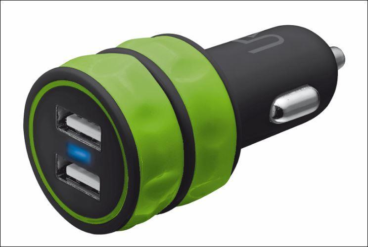 nabíječka TRUST 10W Car Charger 2 USB - lime green