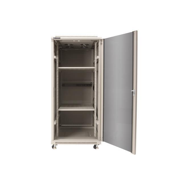 Linkbasic stojící skříně 19'' 22U 600x600mm - šedá (prosklené dveře)