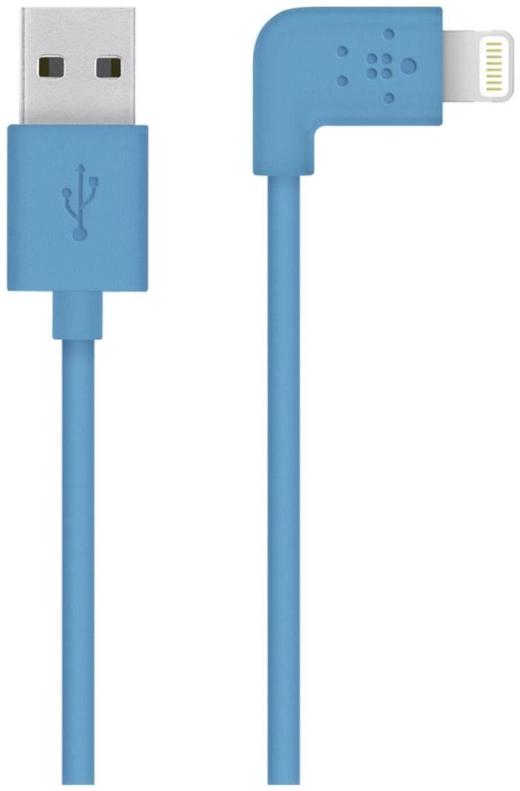 Belkin kabel nabíjecí a synchronizační MIXIT s Lightning konektorem 90°, 1.2m modrý