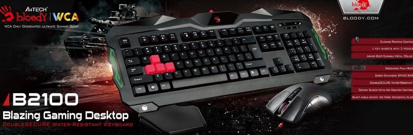 A4tech Bloody B2100 herní set klávesnice s myši, podsvícení USB