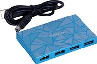 CRONO USB 2.0 HUB, 7 portů, hliník, modrý